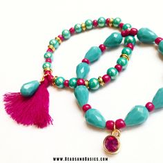 DIY Tutorial / Beads / Zelf sieraden maken / Armbandjes / Ketting / Kralen / roze en turkoois armbandjes / Tibetaanse kralen goud / kralen webshop   www.BeadsandBasics.com
