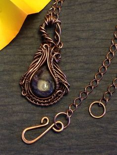 Charoite & Copper Wire Wrapped Pendant Necklace by Perfectly Twisted