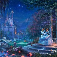 Thomas Kinkade Disney - Cinderella Starlight - 750 Piece Puzzle Thomas Kinkade Disney Collection is a group of paintings inspired by great moments from famous Walt Disney movies this 750 piece puzzle features Cinderella dancing in front of her castle. Disney Magic, Walt Disney Movies, Disney Love, Disney Pixar, Cinderella Disney, Cinderella Prince, Aladdin Princess, Princess Aurora, Princess Bubblegum