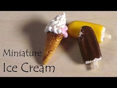 Miniature Popsicle/Creamsicle & Ice Cream Cone - Polymer Clay Tutorial - YouTube