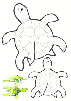 Tips and templates: Glue-free printable turtle - Basteln - Printable paper turtle crafts - Kids Crafts, Summer Crafts, Arts And Crafts, Creative Crafts, Yarn Crafts, Arte Elemental, Turtle Crafts, Printable Paper, Free Printable