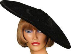 1940s black velvet wide brim hat.