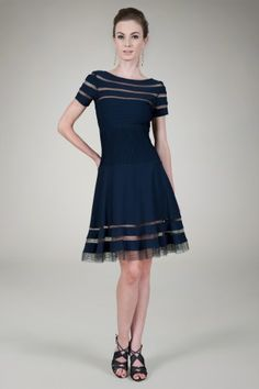 Ruched 3/4 Sleeve Cocktail Dress in Navy - Evening Shop - Tadashi ...