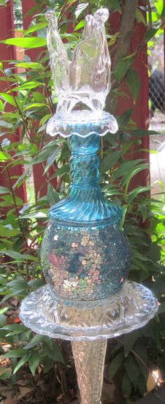 Glass Yard Art Totem Sculpture Candle Holder by TheGlassDiva, $30.00
