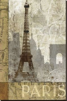 April in Paris Stretched Canvas Print by Keith Mallett at Art.com