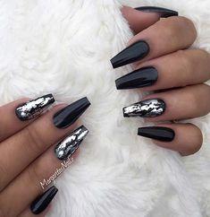 21 Bold and Edgy Black Coffin Nails nails nailsdesign nailsdecoration crazyforus boldnails edgynails blacknails coffinnails 511369732688786107 White Glitter Nails, Black Acrylic Nails, Black Coffin Nails, Metallic Nails, Matte Nails, Black Sparkle Nails, Black Chrome Nails, Black Silver Nails, Black Nail Art