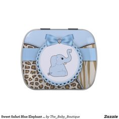 Sweet Safari Blue Elephant Baby Shower Candy Candy Tins