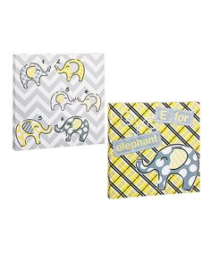 This Gray & Yellow Elephant Gallery-Wrapped Canvas Set by Blossoms & Buds is perfect! #zulilyfinds