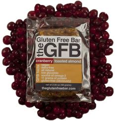 The Gluten Free Bar, by GFB in Cranberry Toasted Almond Flavor. $2.50 Vegan, dairy free, low glycemic