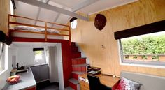 New Zealander Brett Sutherland designed and built his own tiny house and now lives on the beach in Auckland. Check out how tiny house living on the beach looks! Tiny House Storage, Tiny House Cabin, Tiny House Living, Tiny House Plans, Tiny House On Wheels, House Floor Plans, Living Room, Tiny House Layout, Tiny House Design