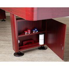 Shop Challenger 9-Ft Shuffleboard Table - Dark Cherry Finish - Overstock - 6217673 Shuffleboard Games, Mdf Cabinets, Diy Table Saw, Cherry Finish, Table Sizes, Built In Storage, Walnut Finish, Game Room, Hardwood