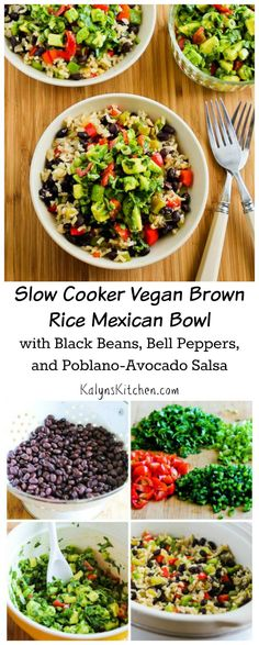 This Slow Cooker Vegan Brown Rice Mexican Bowl is a delicious dinner from the slow cooker! [from KalynsKitchen.com] #SlowCooker #Vegan #MeatlessMonday