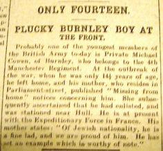 Burnley Roll of Honour Private Michael Cowen