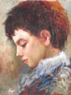 """#DiegoVoci™ Painting Of The Week on AC: """"Little Boy"""" # 24946, 16 in x 12 in ca. early 70's, oil on canvas. Innocence & Beauty of Youth. Collection of CC."""