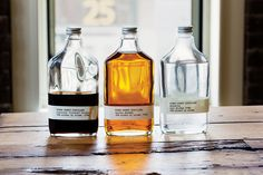 Chocolate Whiskey, Aged Bourbon, and Unaged Moonshine from Kings County Distillery, the first distillery in New York City since Prohibition.