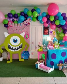 monsters inc party favor Monster University Birthday, Monster 1st Birthdays, Monster Birthday Parties, 2nd Birthday Parties, Birthday Party Decorations, Halloween Decorations, Monsters Inc Boo, Monsters Inc Baby Shower, Monsters Inc Cookies