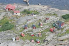 Fishing cottages after strong storm at Gulf of Finland