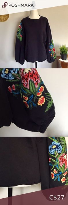 Zara Embroidered Sweater Black sweater with floral embroidered sleeves Raw hem and wide sleeves Size large but fits slightly oversized In excellent condition Zara Sweaters