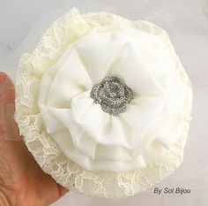 Bridesmaids Brooch Bouquet in Ivory Cream and Coral by SolBijou