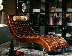 Aged leather…    Amaka Chaise Lounge from Casa Nova
