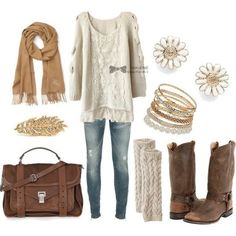 Cute. Have buckle booties that might work with this. Love the sweater, accessories
