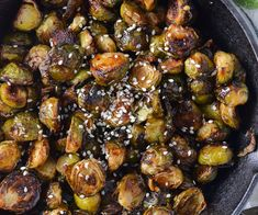 Sweet and Spicy Asian-Glazed Brussels Sprouts (Paleo) - Mother Thyme Garlic Spaghetti, Breakfast Enchiladas, Pancake Bites, Poke Cakes, Vegetarian Paleo, Brussels Sprouts, Roasted Garlic, Sweet And Spicy, Coconut Cream