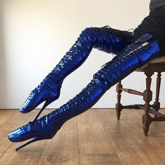 Crotch-hi ballet boots in electric metallic blue! Free shaft circumference customization! We can make these boots for petite or plus size figure. Skinny or muscular leg. You don't need to settle with the standardized shaft that maybe too loose or too tight for you. www.refusetobeusual.com #latex #metallic #electricblue #balletboots #crotchhiboot #customizedboots #rtbu #refusetobeusual #laceupboots