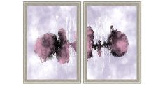 Divided into a diptych, a soft abstraction in watercolor takes on a striking presence. This giclée reproduction is printed on fine-art paper in colorfast inks. Each section is set within an elegant...
