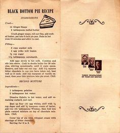 Black Bottom Pie recipe from Weidman's Restaurant in Meridian, Mississippi-YUM! Retro Recipes, Vintage Recipes, Pie Recipes, Dessert Recipes, Dessert Ideas, Black Bottom Pie Recipe, Pie In The Sky, Fun Deserts, Desert Recipes