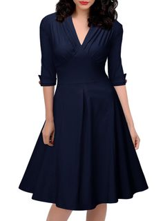 Miusol Women's Vintage Style Retro 1940s Shirtwaist Flared Tea Dress Swing Skaters (L, Navy Blue)