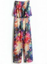 #SheInside Multi Strapless Galaxy Print Loose Chiffon Jumpsuit $33.23