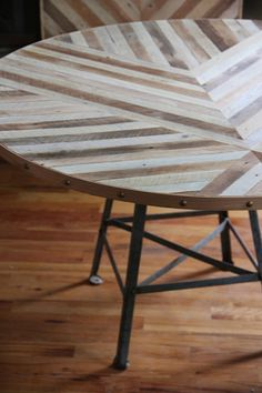 brooklyn to west: make it round and wrap it up | I love the contrast between the straight lines in the table and the round table itself. Plus the tacks are just awesome. Gorgeous!