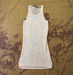 Vince White Open Knit Beater Tunic Sweater Shirt Tank Top WOMENS XS 0 2 NEW #Vince #Tunic