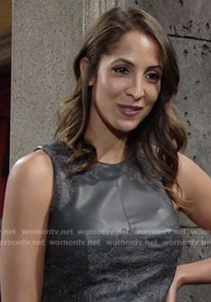 Lily's black leather and lace top on The Young and the Restless.  Outfit Details: https://wornontv.net/56981/ #TheYoungandtheRestless
