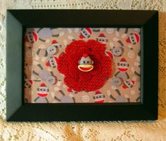 Mixed media: Framed artwork with handcrafted burlap flower - sock monkey theme