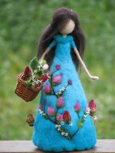 Waldorf inspired Needle felted roses lady blue Art doll Home