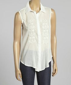 Love this Ivory Embroidered Sleeveless Button-Up by Simply Irresistible on #zulily! #zulilyfinds