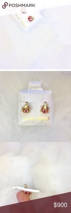 NEW•14K GOLD+RED CRYSTAL Ladybugs• BOUTIQUE • \\tRINITY Squared•// Genuine solid 14K Gold + Red Garnet colored crystals :: Handmade in India ::: Hand sourced ::: Screw•back earrings ::: Ladybug shape ::: Each approximately the size of a pea ::: New• tRINITY Squared• Jewelry Earrings
