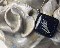Check out Blue Necklace, Sparkle Blue Necklace, Blue Fused Glass Necklace, Blue Fused Glass Pendant, Fossil Necklace, Plant Necklace, glass pendant on thejeremiahtreeglass