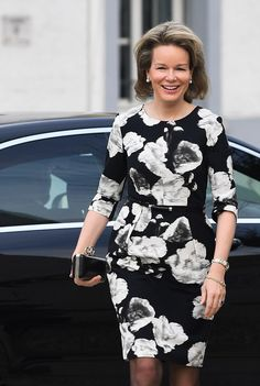 Queen Mathilde of Belgium, who was understated in a black and white floral dress visited the exhibition Neighbours 2018, which chronicles he daily life of the Hasidic Jews of Antwerp.