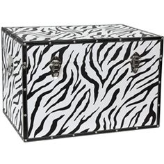 Faux Leather Zebra Stripe Storage Trunk, display props for stores