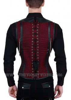 Red and black striped mens corset, with silver chain detail. Lace up men! The Violet Vixen - Vlad the Impaler's Red Corset, $152.00 (http://thevioletvixen.com/clothing/mens/mens-corsets/vlad-the-impalers-red-corset/) corset mens steel boned reb black vampire goth leather chain