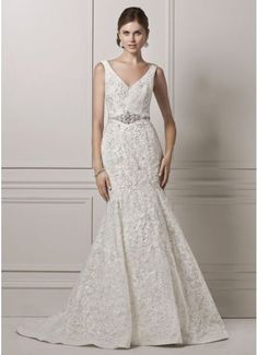 Oleg Cassini Tank Lace and Deep V Wedding Dress  CWG621