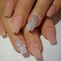 you should stay updated with latest nail art designs, nail colors, acrylic nails. Natural Acrylic Nails, Best Acrylic Nails, Nails Acrylic Coffin Glitter, Acrylic Nail Designs Glitter, Silver Nail Designs, Silver Glitter Nails, Glitter Flats, Acrylic Nail Art, Acrylic Nails For Summer Glitter