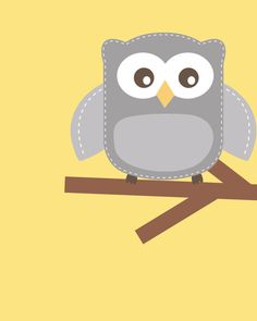 Yellow and gray nursery Nursery Owl Art Grey and door ChicWallArt