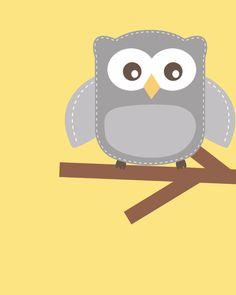 Yellow and gray nursery Nursery Owl Art Grey and door ChicWallArt