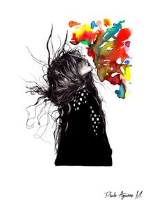"""""""Explosion"""" dibujo hecho con grafito y acuarela"""