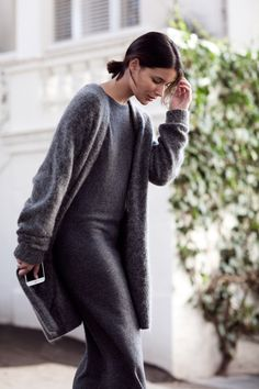 grey acne cardigan and grey knit dress | HarperandHarley