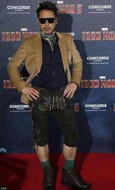 Robert Downey Jr. wears lederhosen to the premiere of 'Iron Man 3′! On the red carpet in Munich, Germany (2013) ~ Cool!