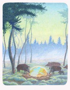 Wildschweine, Weltkugel. Wald, Natur